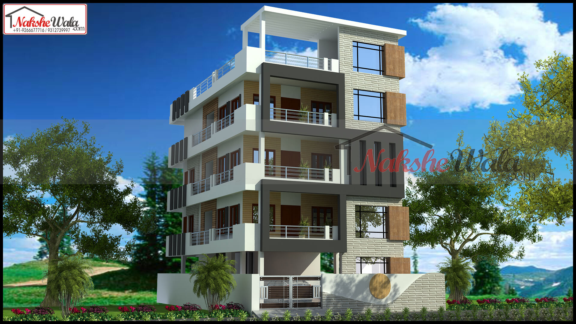 4 floor home design