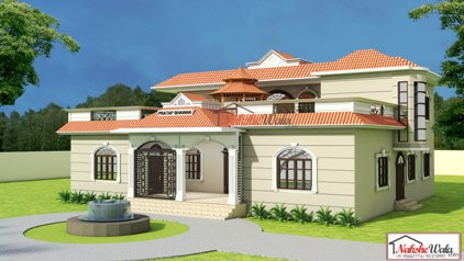 Kerala Style Hut Shape Roof House Elevation Hut Shaped Roof House 3d Front View